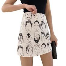 Korean Style Skirts Retro Comic Print High Waist Wild A Line Skirt