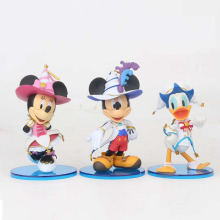 цена на 3pcs/set Disney Anime Figures Minnie Mickey Mouse Donald Duck statue PVC Action Figure Collectible Model Toys For Kids Gift