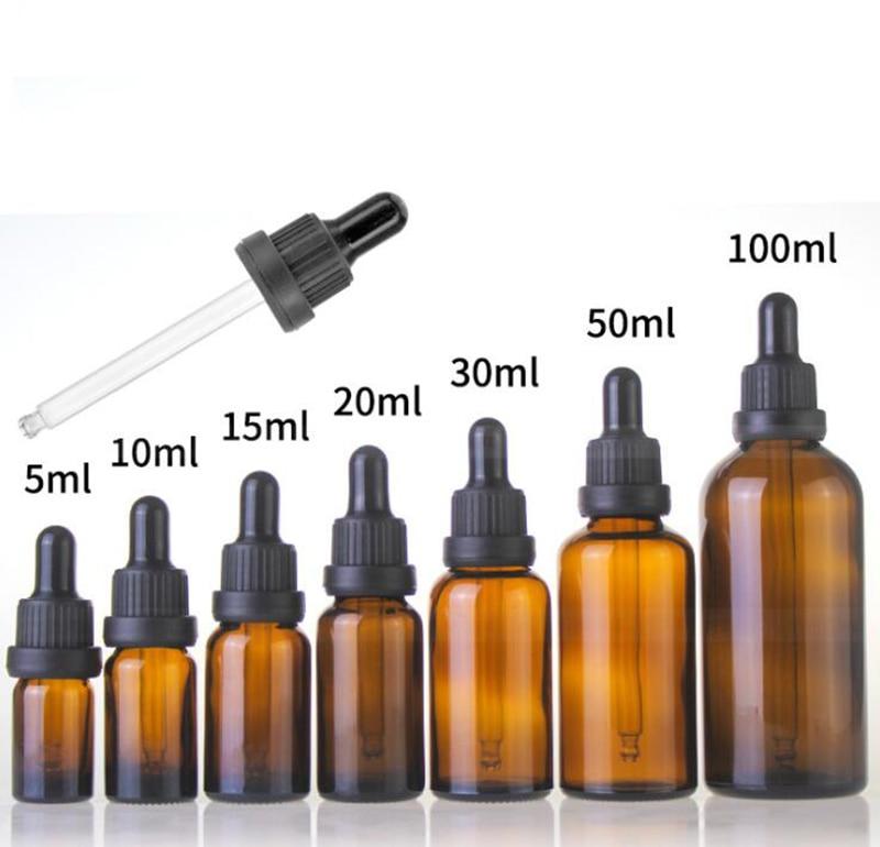 Wholesale 5ml 10ml 15ml 20ml 30ml 50ml 100ml Amber Glass Dropper Bottles Glass E liquid Bottle Eye Dropper Bottle With Black Lid