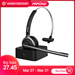 Business Mpow M5 Pro Wireless Headphones Bluetooth Over-ear Clear Noise Cancelling Headphones With Microphone&Charging Case