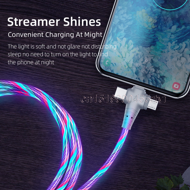 3in1 Flow Luminous Lighting usb cable for iPhone 12 11 Pro 3 in 1 2in1 LED Micro USB Type C 8Pin charger Wire for Huawei Xiaomi 5
