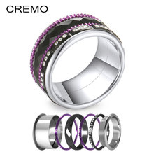 Cremo Black Rings Sets Women Crystal Stainless Steel Ring Band Spinner Silver Wedding Festival Gifts