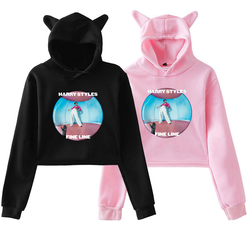 Cropped Hoodie Harajuku Sweatshirts Female Harry Styles FINE LINE Hoodies Sweatshirt Pink Clothes For Girls Women Clothes Winter