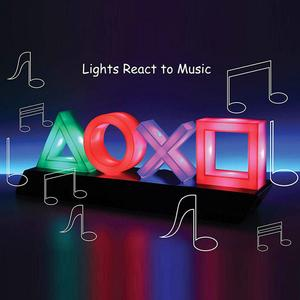 Игровой значок, светильник с голосовым управлением, цветной атмосферный неоновый светильник, бар/спальня/КТВ, декоративная лампа, диммируе...