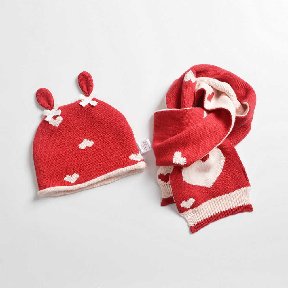 Girl Hat Scarf Set Winter Beanie Fleece Warm Kid Baby Red Rabbit Cartoon Autumn Accessory Toddler Outdoor Headwear