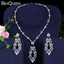 BeaQueen Green Crystal Micro Pave CZ Stone Large Hanging Drop Earrings Necklace Set for Women Wedding Jewelry Gift JS030