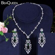 BeaQueen yeşil kristal mikro açacağı CZ taş büyük asılı damla küpe kolye seti kadınlar için düğün takısı hediye JS030