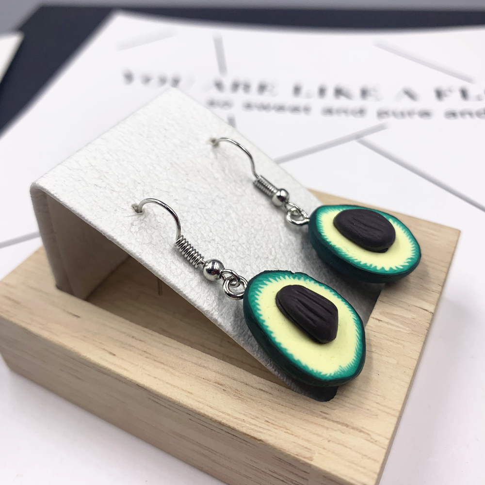 Cute Avocado Drop Earring For Women Girl Cartoon Fruit Piercing Pendant Earring Statement Jewelry