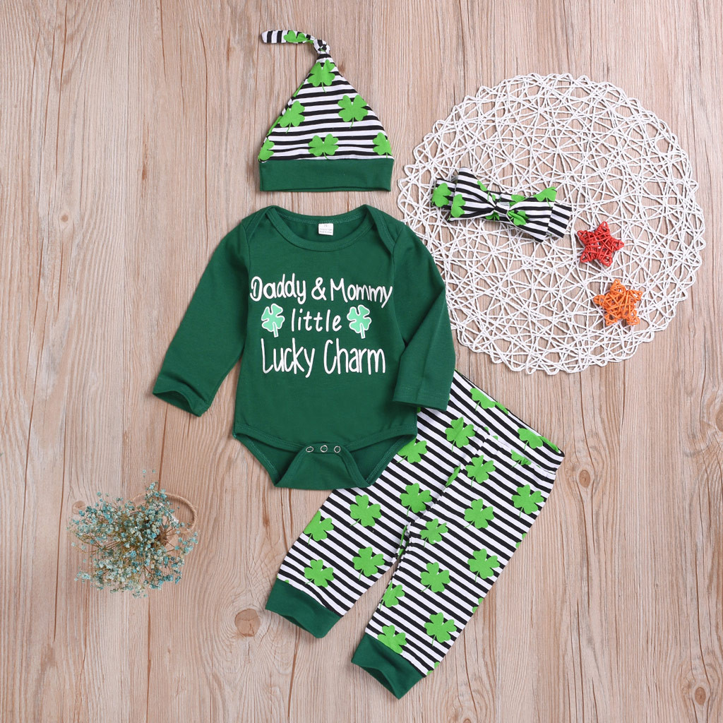 Baby Girl Lucky Charm Leaf Romper+Pants+Cap+Headband 4Pcs St Patricks Day Outfits