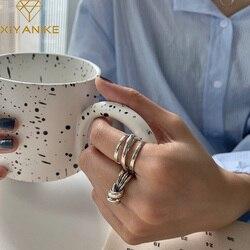 XIYANIKE 925 Sterling Silver wielowarstwowy wiązane krzyż uzwojenia pierścień INS kobieta starszy Retro Distressed para pierścień Handmade prezent