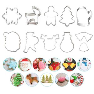 Stainless Steel Christmas Cake Cookie Fondant Cutter Mold Snowflake Gingerbread Man Baking Cupcake Pastry DIY Cookie Cutter Tool