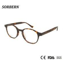 SORBERN, ручная работа, ацетат, винтажные круглые оправы для очков, для мужчин и женщин, овальные круглые очки, оптические очки, модная рамка с имитацией