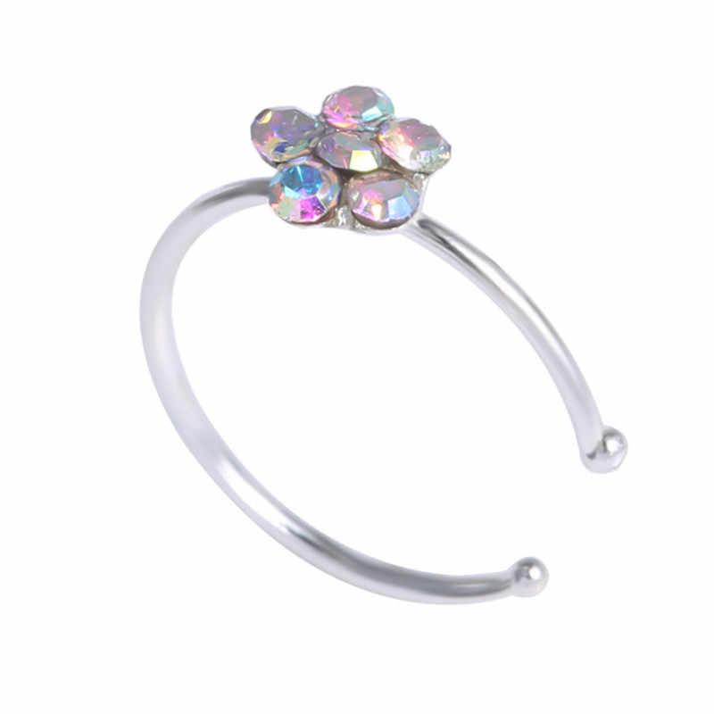 1 шт. красочные Nostril нержавеющей Нос Кольца сливы нос кольцо пенсне поддельный пирсинг ювелирные изделия для женщин