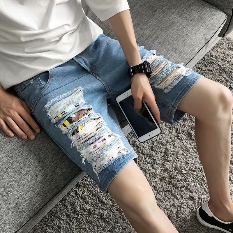Summer Korean-style Trend With Holes Denim Shorts Social Teenager Fifth Pants Men's Slim Fit Thin Summer Pants