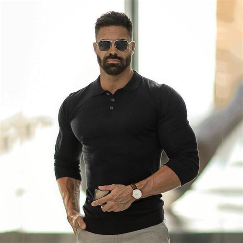 Polo Shirt Mens Clothing Workout Casual Polo Shirts Breathable Sports Long Sleeve Gyms Fashion Brand Bodybuilding Men's Polos