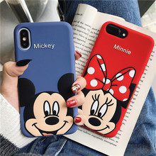 Cute 3D Cartoon Mickey Minnie Mouse Case For iPhone X XS MAX XR Phone 7 8 6S 6 Plus Soft TPU Silicon Cover Coque