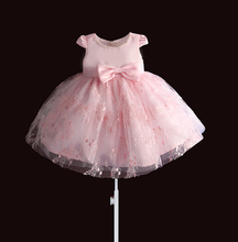 Lace Girls Dress Pearl Necklace Kids Dresses for Girl Princess Informal Party Baptism Dress tulle vestidos Flower 1 2 3 4 Years