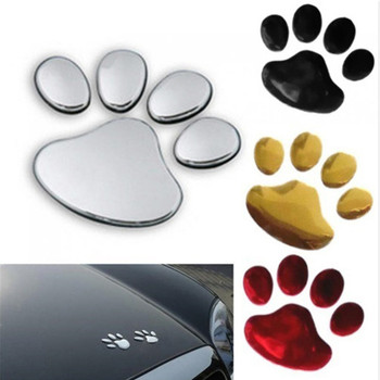 3D Dog Paw Footprint PVC Car Stickers Decal Dog Bear Cat Animal Sticker Car Styling Auto Motorcycle Decor image