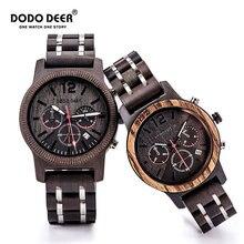 DODO DEER Wood Watch Men Women Creative Calendar Fashion Casual Wood Quartz Watches Relogio Masculino Wooden Boxes Custom OEM