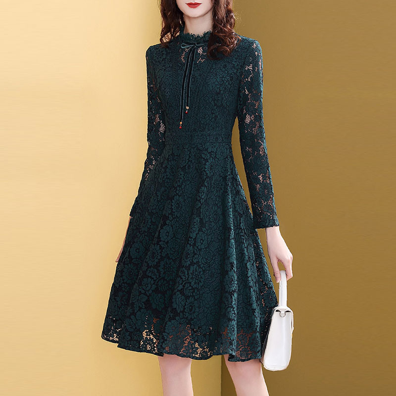 Europe And America Lace Skirt WOMEN'S Dress Autumn And Winter 2019 New Style Retro Elegant Lady Dress High-End Western Style