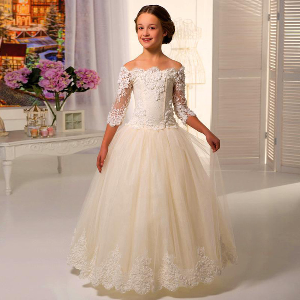 2019   Flower     Girl     Dresses   For Weddings Ball Gown 3/4 Sleeves Tulle Appliques Lace Long First Communion   Dresses   Little   Girl