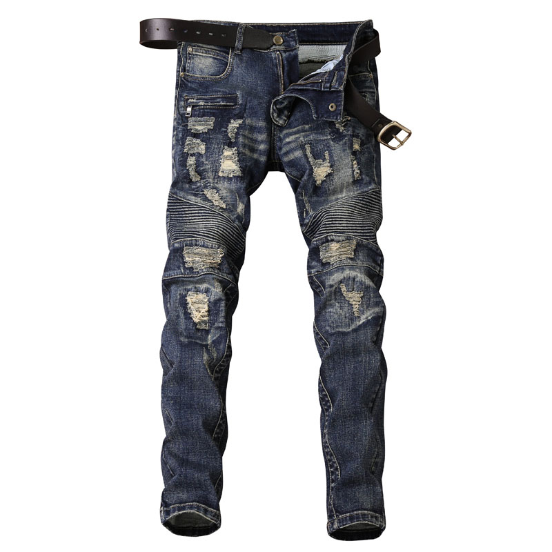 Skinny Jeans Men Denim Locomotive Jean Homme Ripped Spijkerbroeken Heren Biker Stretch Pants Slim Fit Men'S Trousers Fashion