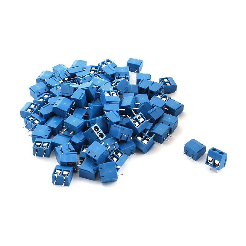 100pcs 2P Plug in Screw Terminal Block Connector 5.08mm Pitch Blue|Terminal Blocks| |  - title=