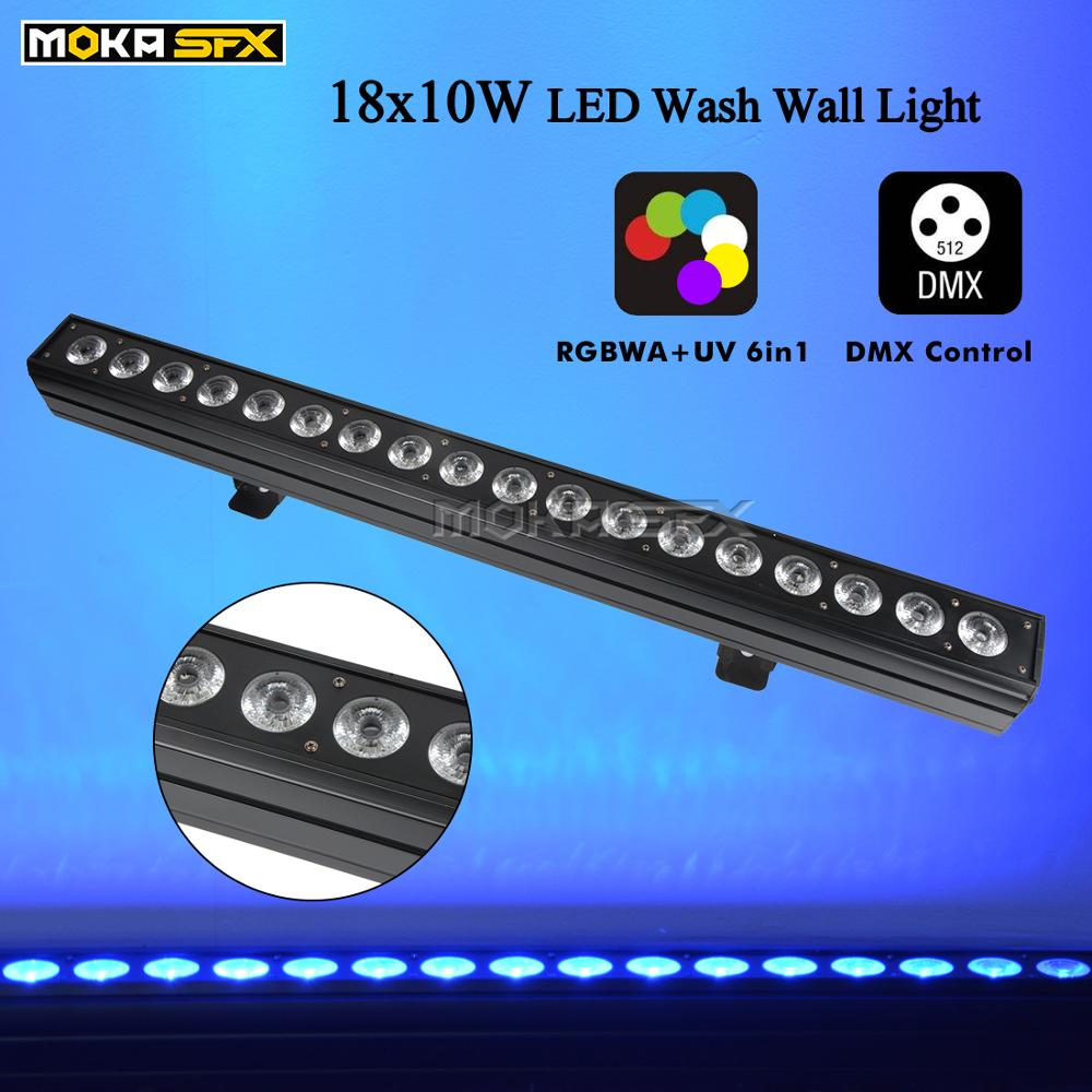Wash Wall Light 18pcs <font><b>LED</b></font> Satge <font><b>Bar</b></font> Light RGBW/<font><b>RGBWA</b></font>+UV <font><b>LED</b></font> Wall Washer Light Projector for Party Decoration Events Party Light image