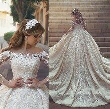 Vestido דה Noiva יוקרה חרוזים פרחוני אפליקציות חתונת שמלת 2019 אלגנטי Sheer ארוך שרוול חתונה כלה שמלות Robe דה Mariee