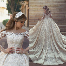 Vestido de noiva de luxo frisado floral apliques vestido de casamento 2019 elegante sheer manga longa vestidos de noiva robe de mariee