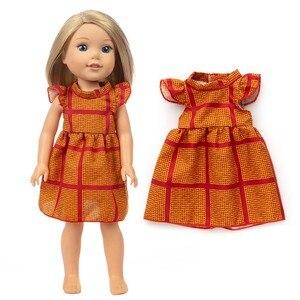 Кукла для новорожденных, размер 14-18 дюймов, американская одежда, ретро Красное Желтое платье для девочек, костюм для детского подарка на ден...