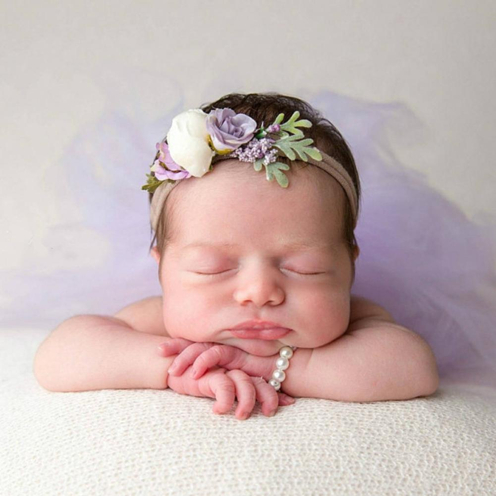 2Pcs/Set Newborn Baby Girls Bracelet Headband Faux Pearl Bracelet Headband Jewelry Photo Props New Baby Jewelry Set