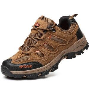 Image 2 - 2019 nouveau automne hiver anti dérapant baskets pour hommes chaussures en plein air marche randonnée chaussures montagne chasse bottes daim chaussures pour homme