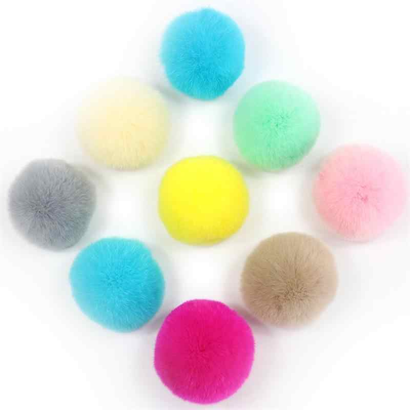 6/7cm Rabbit Fur Ball Pom With Rubber Band Needlework Pompoms For Women Child Winter Hat Cap High Quality DIY Craft Supplies