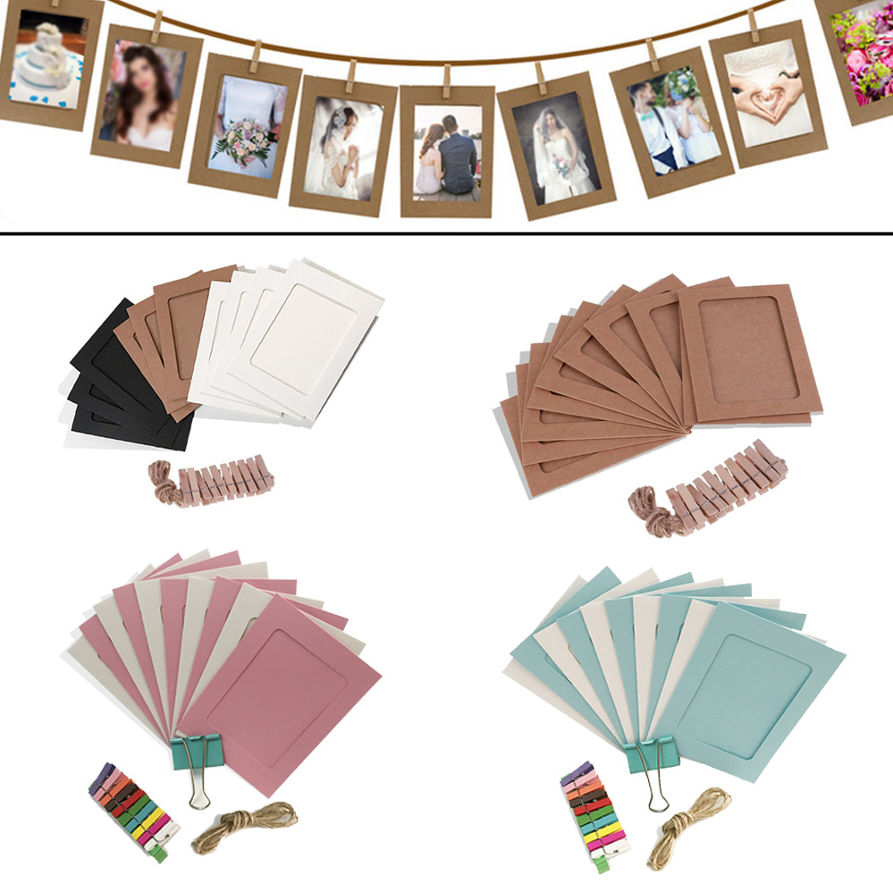 10PCS DIY Photo Frame Paper Picture Wall Decoration For Wedding Graduation Party Photo Booth Props Wall Hanging Photos Frames