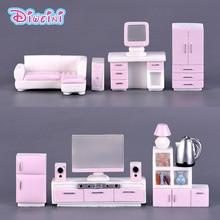 Muebles rosados figura de casa moderna figuras en miniatura decoración de casa de muñecas juguetes niños regalos de cumpleaños accesorios DIY