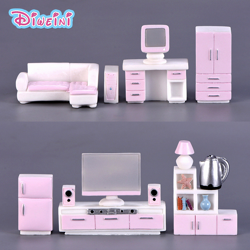 Pink Furniture Modern House Figure Miniature Model Figurines Decoration Dollhouse Toys Children Birthday Gifts DIY Accessories