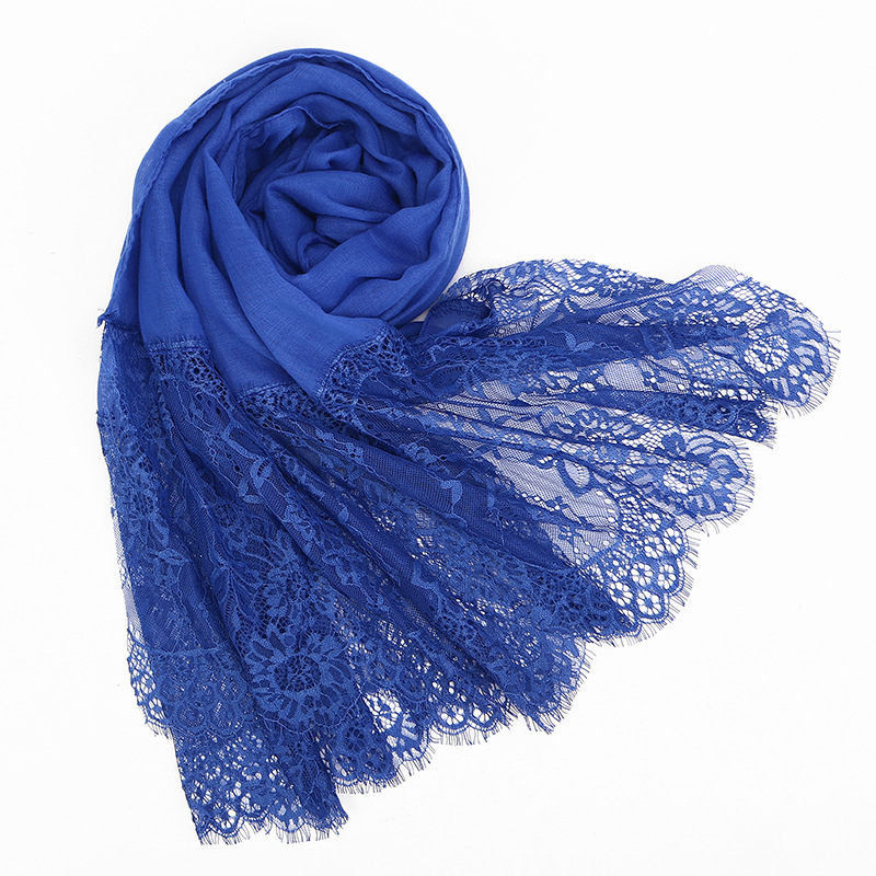 Popular Long Lace Edges Scarf Hijab Woman Plain Maxi Shawl Wrap Flower Floral  Lace Foulard Viscose Cotton Muslim Scarf Hijabs