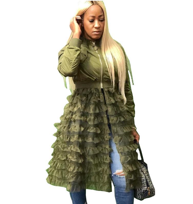 2019 new Fashion Zipper siold Baseball   Jacket   Coat Gauze lace Dress New Autumn Winter Coats   Basic   Outwear 3XL