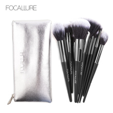 Focallure 10 pcs Makeup Brush set for Eyeshadow Blush Eyebrow Professional brush  soft for easy makeup brushes with bag stylish 18 pcs portable fiber makeup brushes set with pu brush bag