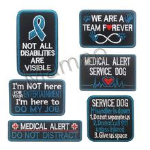 6 pieces / set Embroidered patches Blue Pink Service Dog ceo-friendly handmade 3D Hook & Loop patch jacket