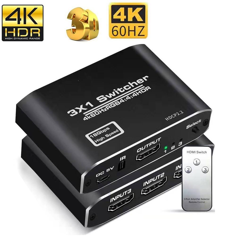 Uhd hdmi 2.0 switcher divisor 4 em 1 para fora toslink & áudio estéreo hdmi hdr hdcp 2.2/1.4 4kx2k/60 hz switch distribuidor hub caixa