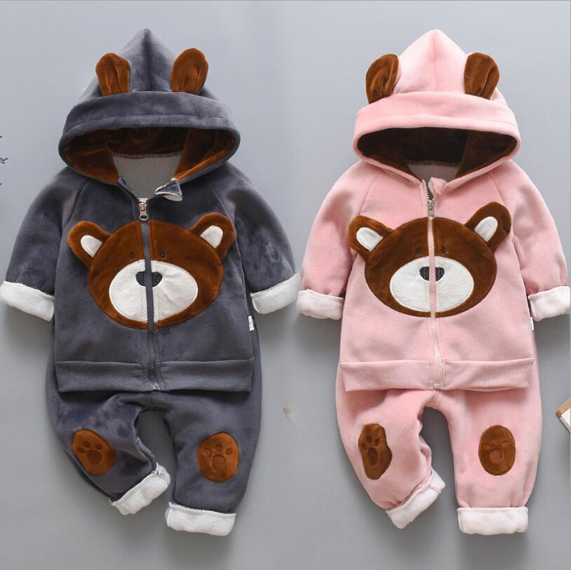 Yenidoğan bebek erkek kız sonbahar kış sıcak Hoody ceket + kazak + pantolon 3 adet takım bebek çocuk çocuk spor yürümeye başlayan giysi