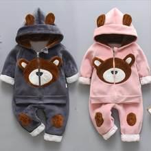 Bebê recém-nascido meninos meninas outono inverno quente casaco com capuz + moletom 3 pçs terno infantil crianças esportes da criança roupas