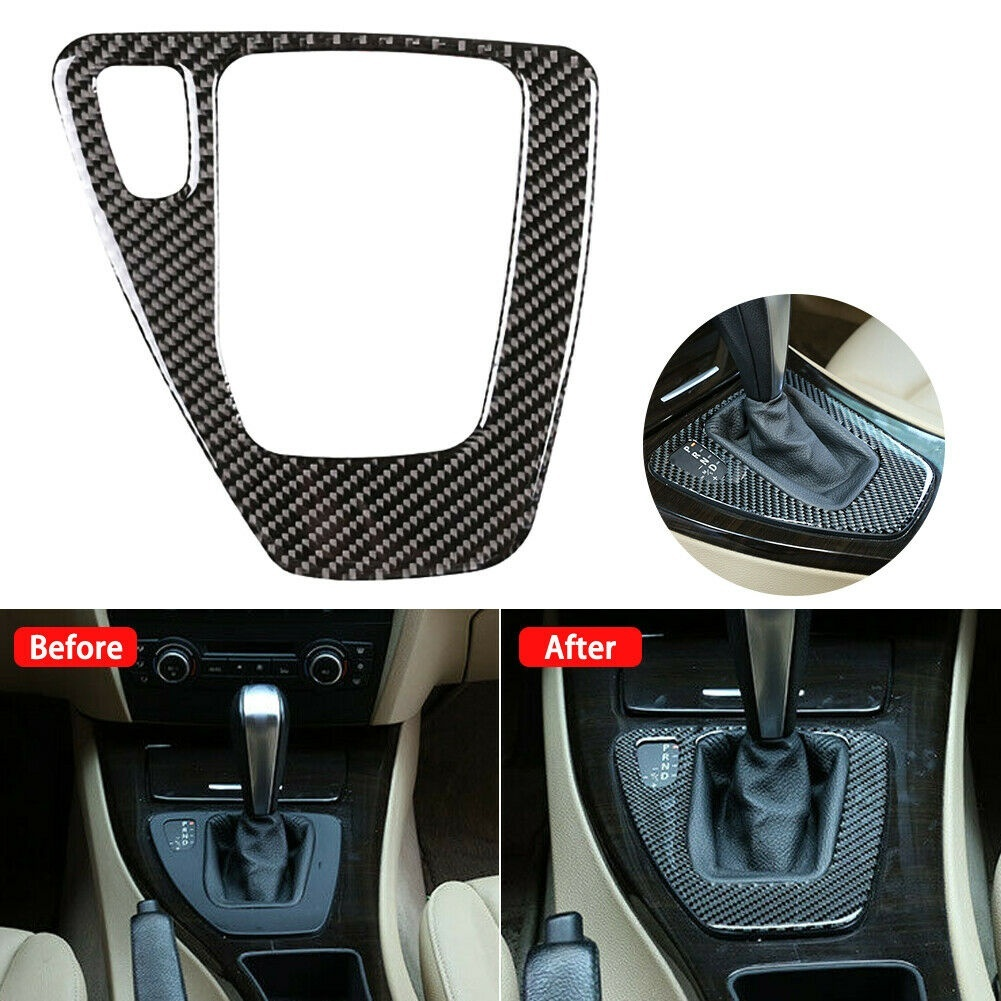New Car Gear Shift Panel Knob Cover <font><b>Carbon</b></font> <font><b>Fiber</b></font> Decal Car Auto Shift Box Panel Cover For <font><b>BMW</b></font> <font><b>E90</b></font> E92 E93 <font><b>Interior</b></font> image