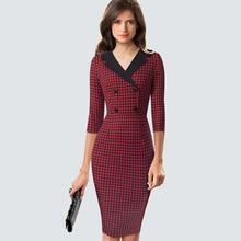Классическое элегантное облегающее платье из твида, винтажное очаровательное офисное платье с двумя пуговицами HB570