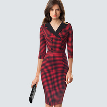 Classic Houndstooth Elegant Bodycon Vintage Charming Office Lady Double Buttons Dress HB570