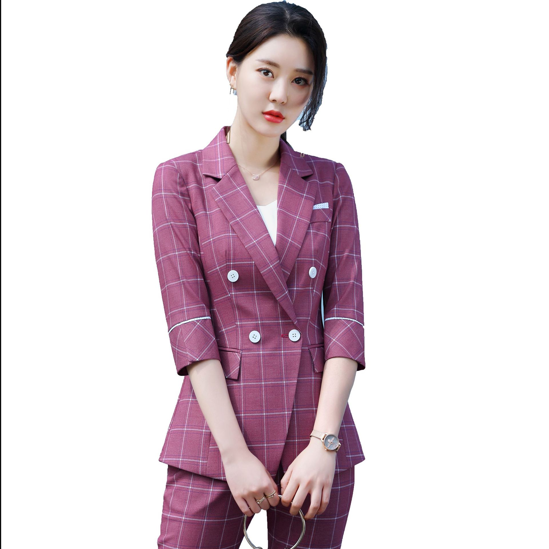 2020 Female Elegant Plaid Women's Pants Suit Set Blazer And Trouser Pant Business Uniform Clothing Purple Blue With Jacket Tops