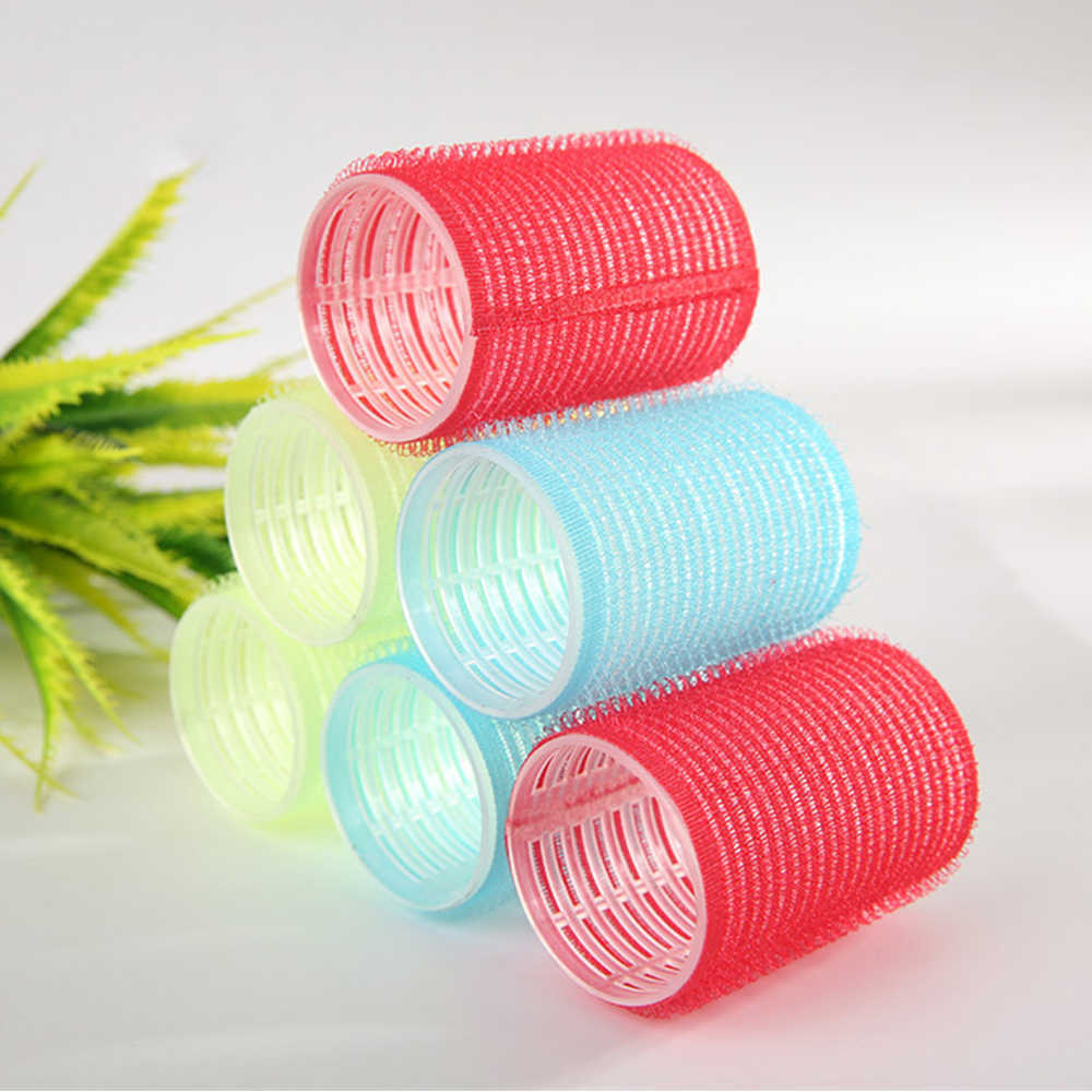 6 Pcs Große Selbst-Stil Grip Schnalle Curler Jede Größe Kunststoff Haar Curler Haar Styling Geräte Pflegeprodukte Farbe zufällig
