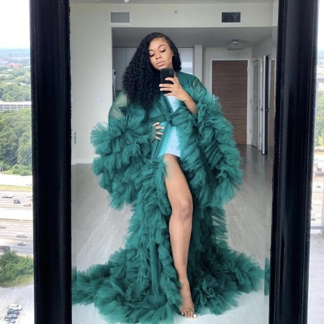 Fashion Ruffles Tulle Kimono Women Dress Robe Extra Puffy Prom Party Dresses Puffy Sleeves African Cape Cloak Pregnant Gowns 1